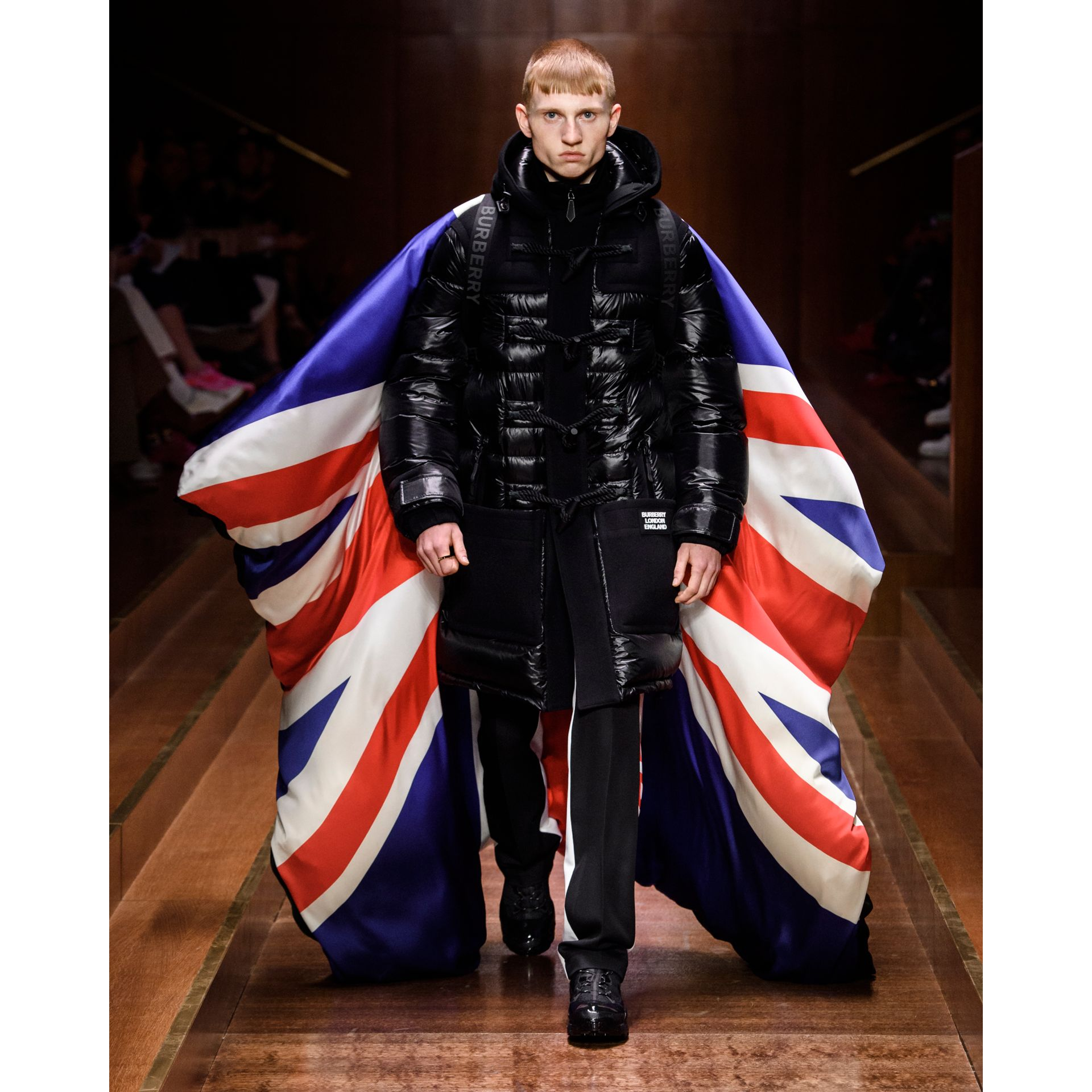 Union Jack and Logo Print Oversized Puffer Cape in Multicolour | Burberry United States - gallery image 12
