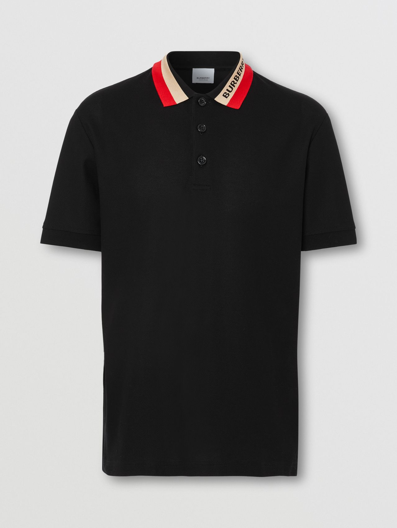 Logo Detail Cotton Piqué Polo Shirt in Black