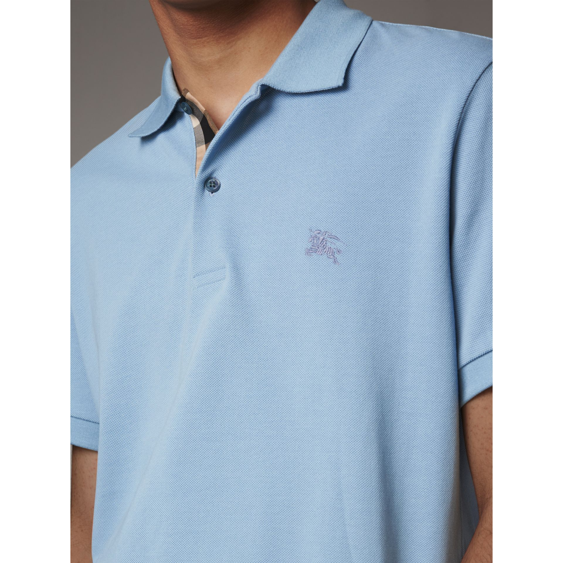 Check Placket Cotton Piqué Polo Shirt in Pale Blue - Men | Burberry Canada - gallery image 1