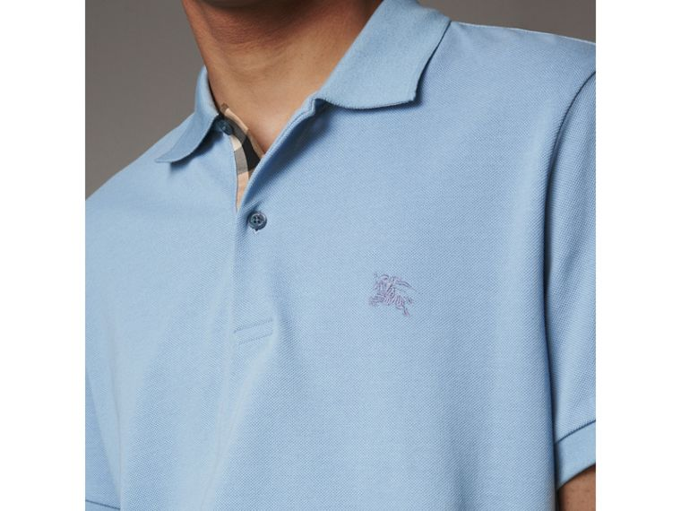 Check Placket Cotton Piqué Polo Shirt in Pale Blue - Men | Burberry United Kingdom - cell image 1