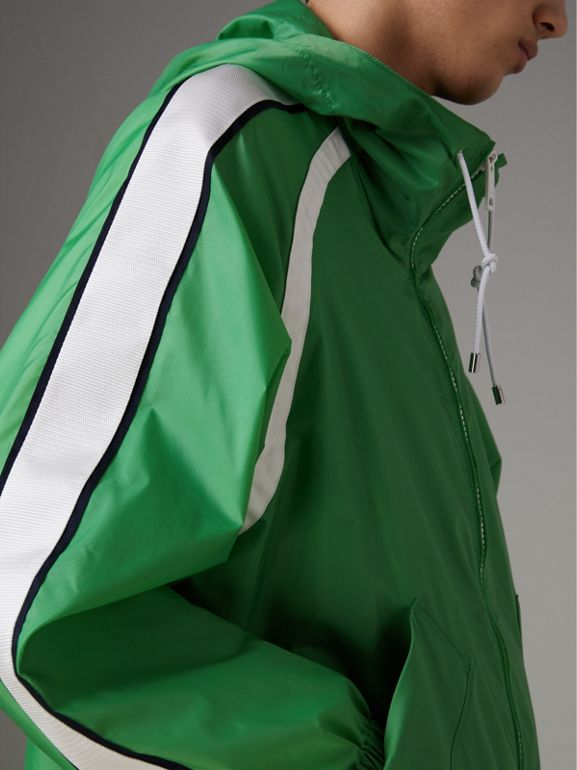 Stripe Detail Showerproof Hooded Jacket in Bright Pigment Green - Men | Burberry United Kingdom - cell image 1