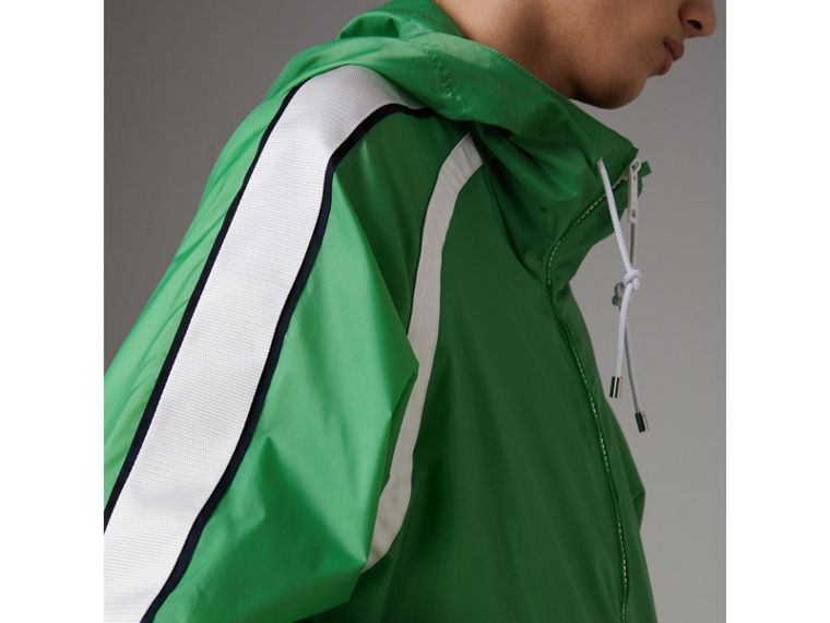 Stripe Detail Showerproof Hooded Jacket in Bright Pigment Green - Men | Burberry - cell image 1