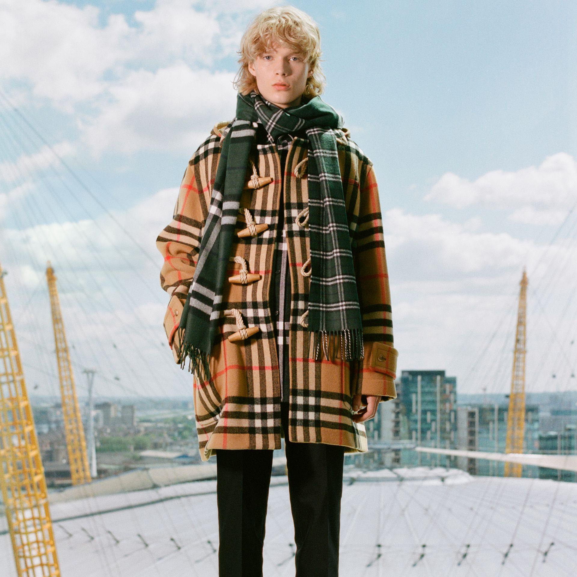 Gosha x Burberry Check Oversized Duffle Coat in Antique Yellow | Burberry Canada - gallery image 1