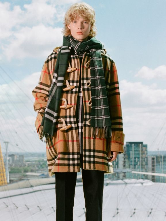Gosha x Burberry Check Oversized Duffle Coat in Antique Yellow | Burberry - cell image 1