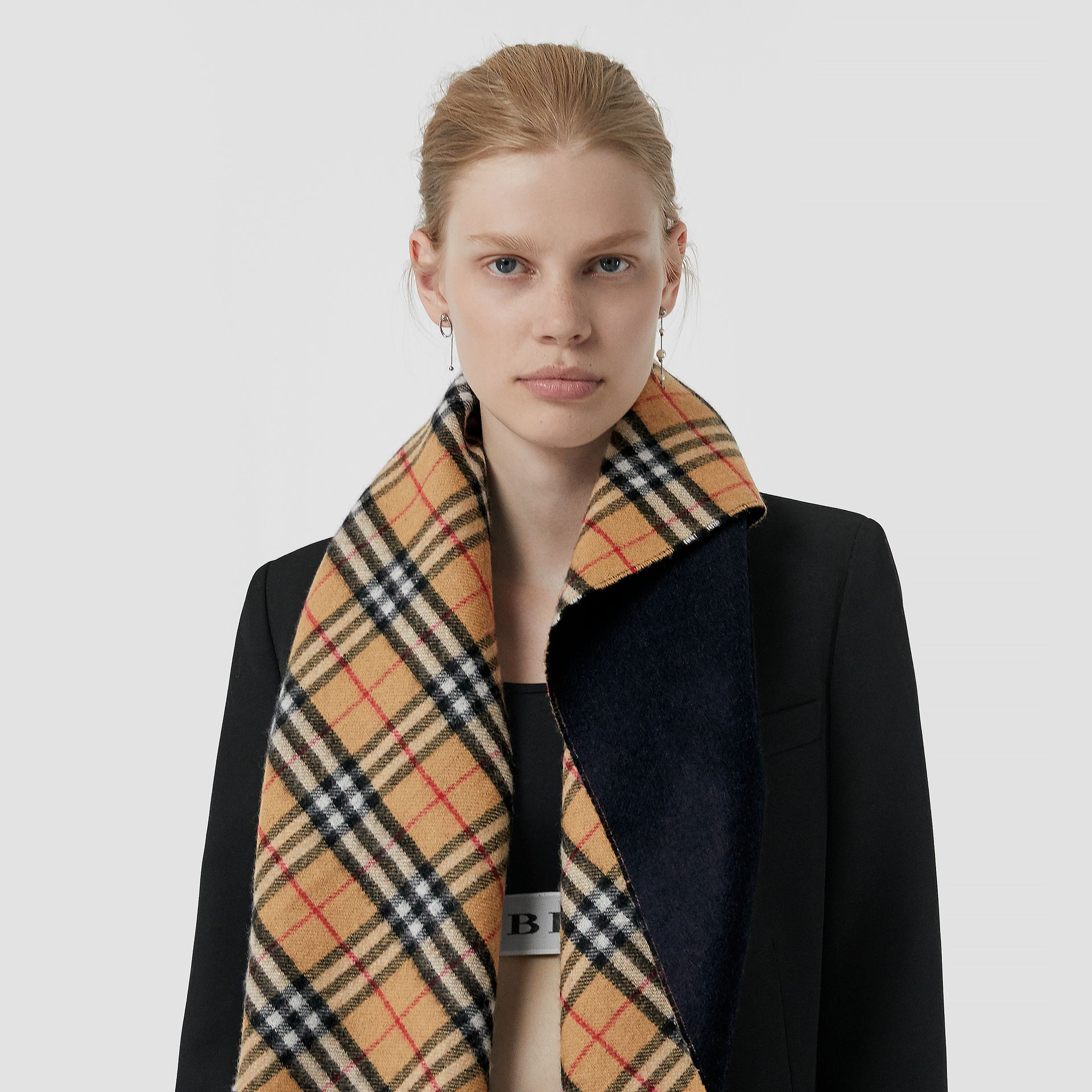 The Burberry Bandana in Vintage Check Cashmere in Blue Carbon | Burberry Australia - gallery image 5