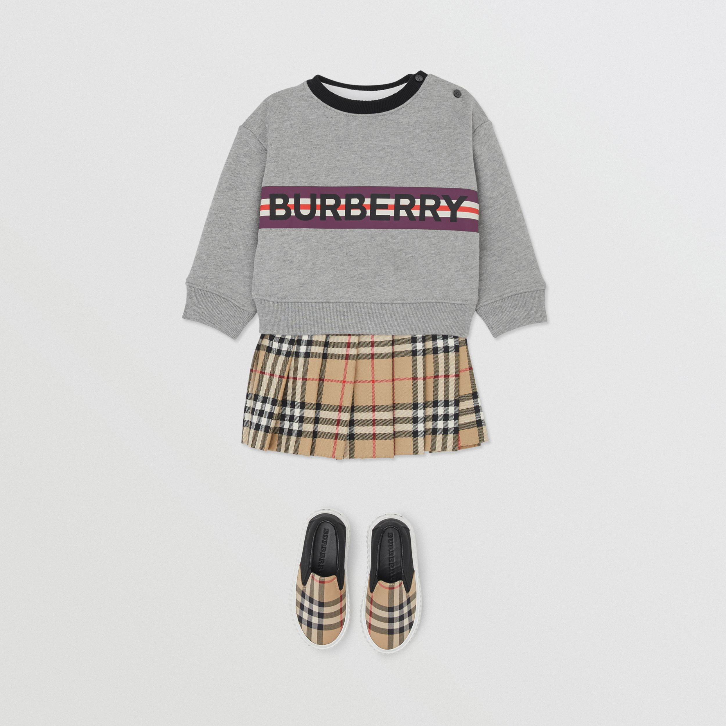 Logo Print Jersey Sweatshirt in Grey Melange - Children | Burberry - 3