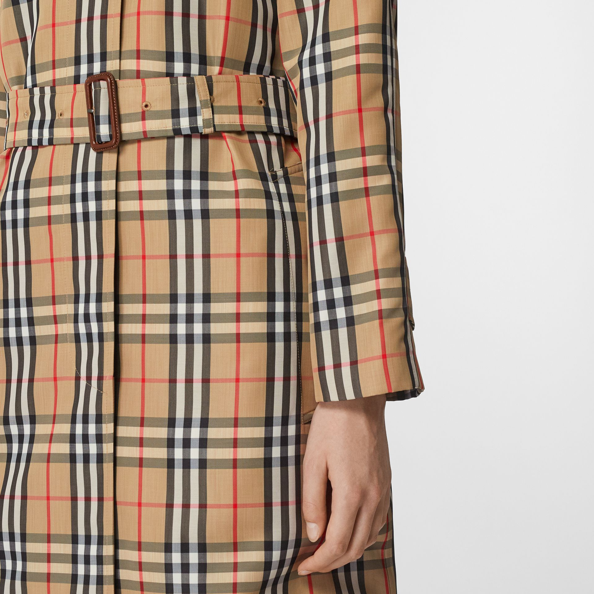 Vintage Check Nylon Belted Car Coat in Archive Beige - Women | Burberry - gallery image 4