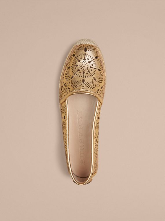 Gold satin Laser-cut Lambskin Espadrilles - cell image 2