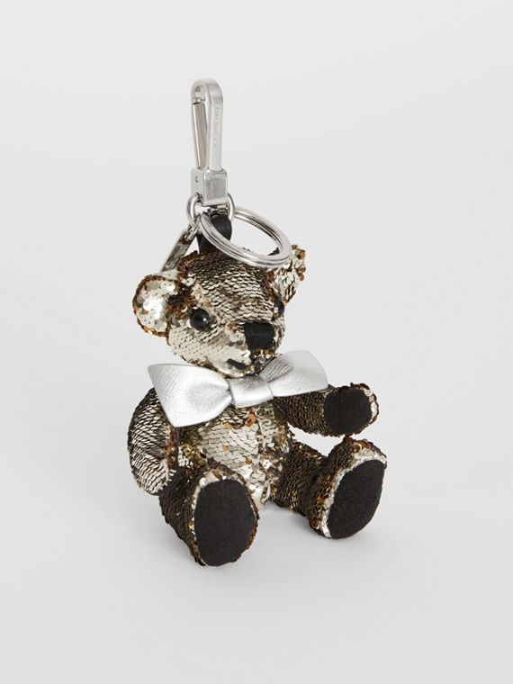 Thomas Bear Charm in Sequins and Leather in Silver