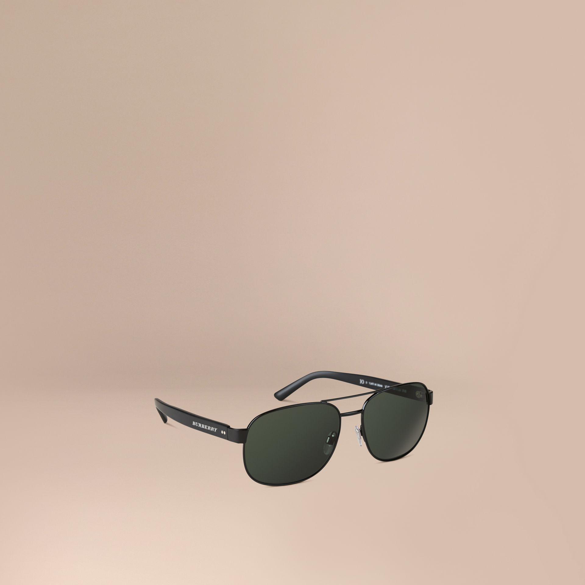 Shiny black Square Frame Aviator Sunglasses Shiny Black - gallery image 1