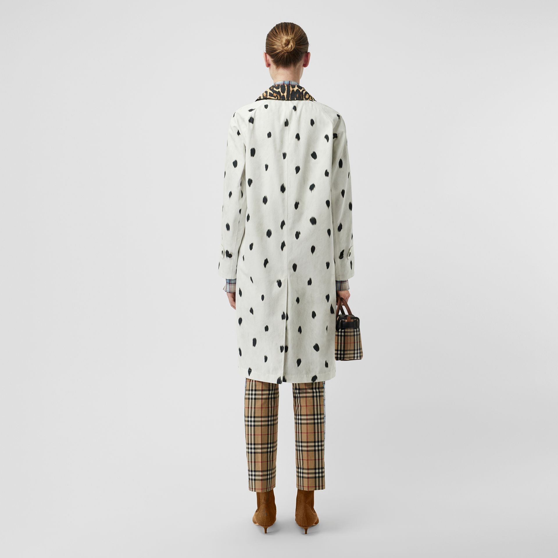 Animal Print Cotton Car Coat in White - Women | Burberry - gallery image 2