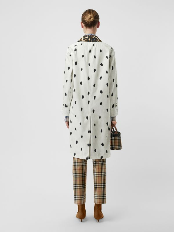 Animal Print Cotton Car Coat in White - Women | Burberry - cell image 2
