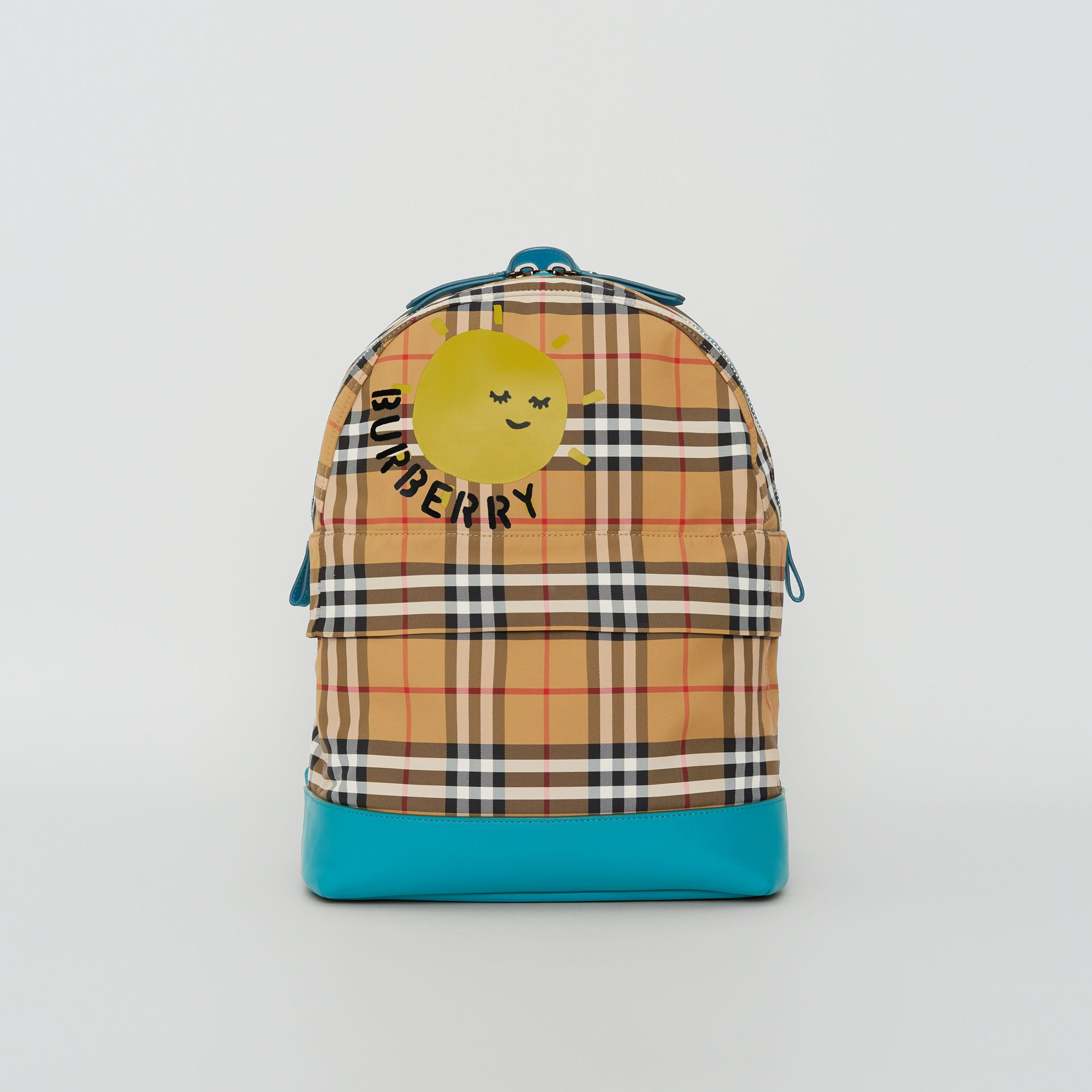 Sun Print Vintage Check Nylon Backpack in Antique Yellow - Children | Burberry Australia - gallery image 0