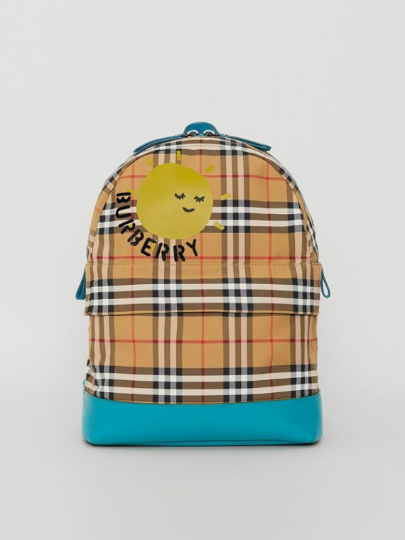 Sun Print Vintage Check Nylon Backpack in Antique Yellow