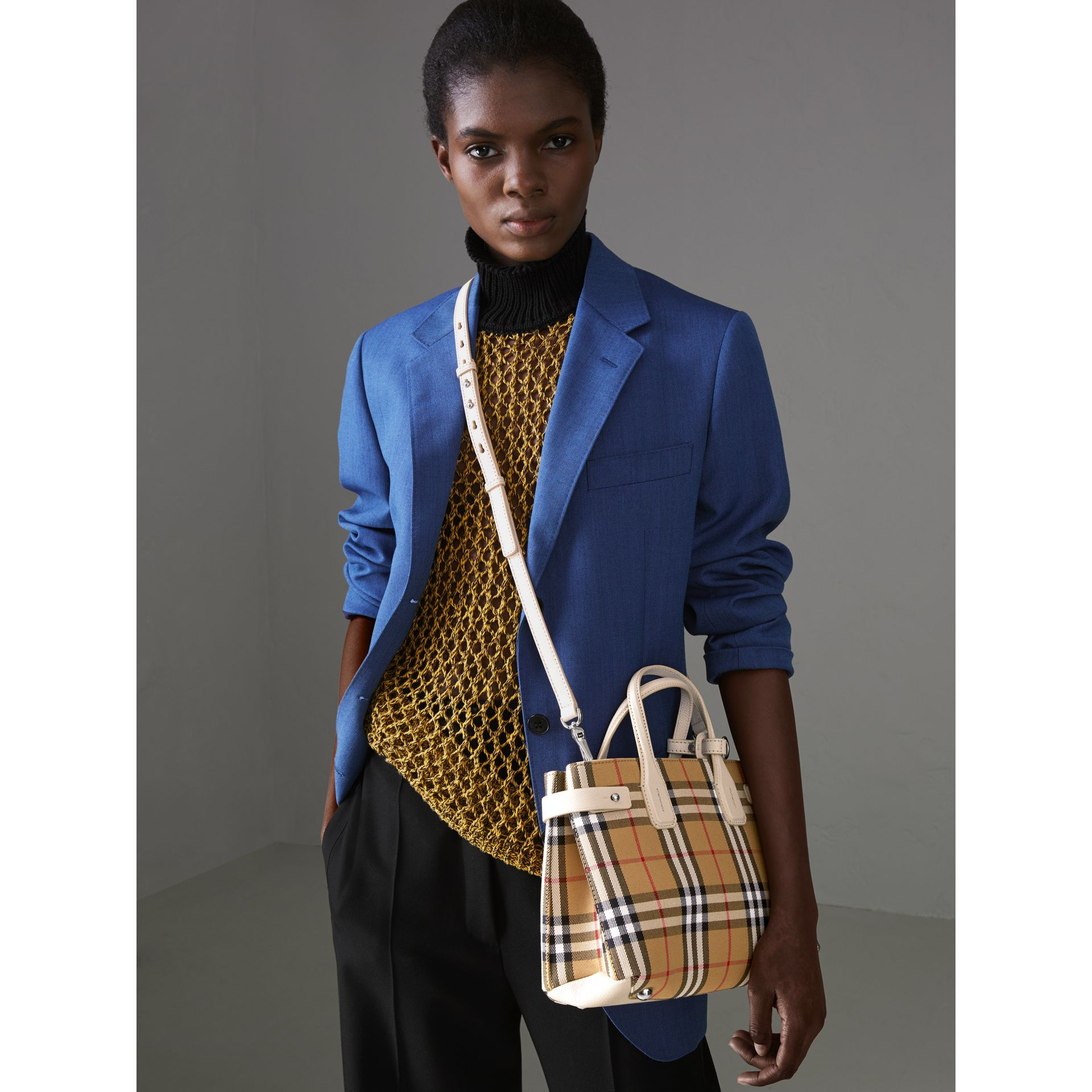 The Small Banner in Vintage Check and Leather in Limestone - Women | Burberry United Kingdom - gallery image 3