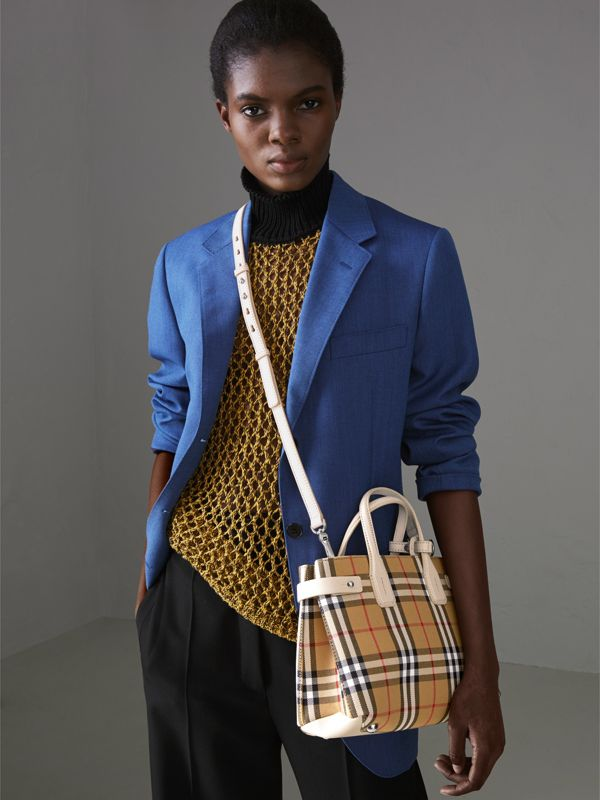 The Small Banner in Vintage Check and Leather in Limestone - Women | Burberry Australia - cell image 3