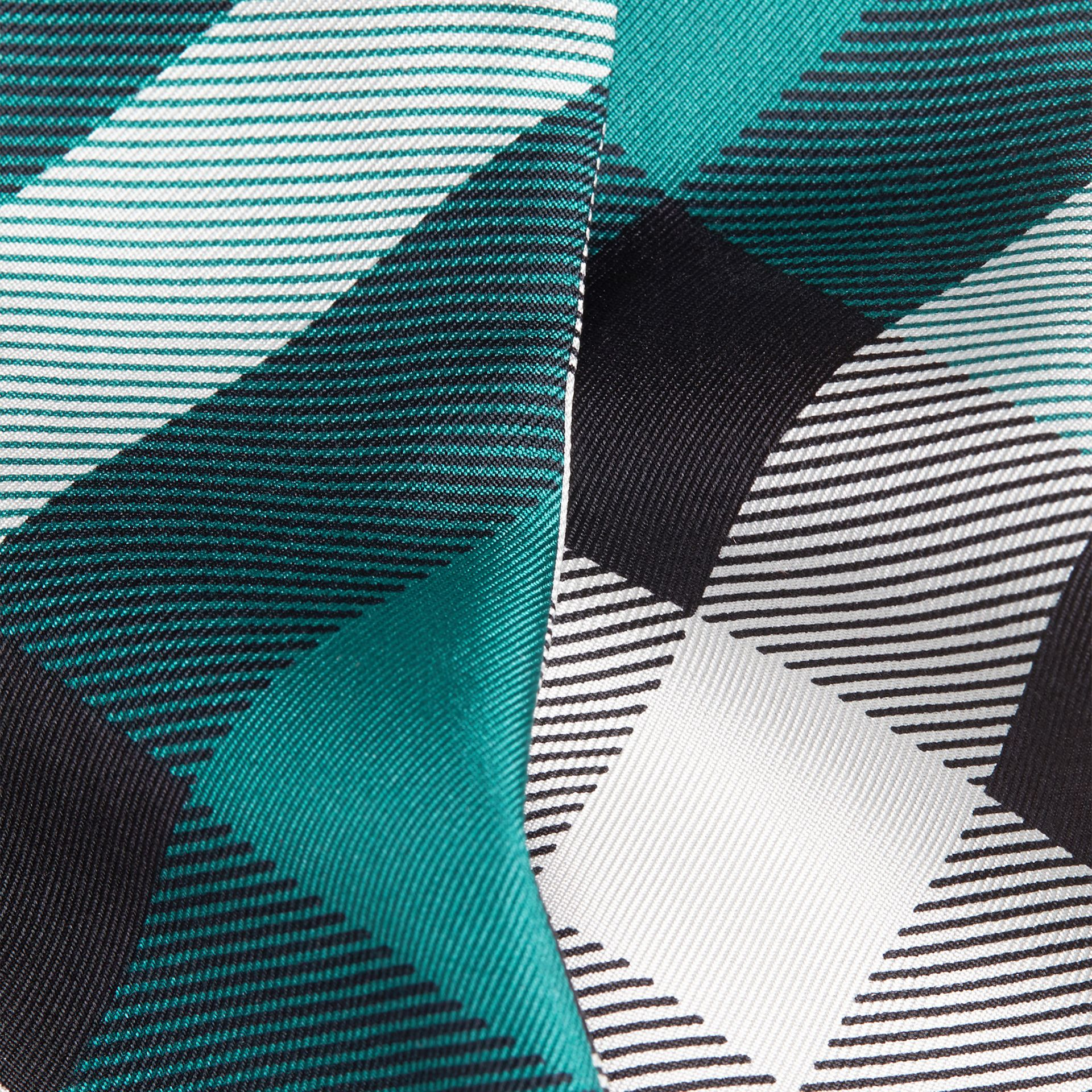 Dark aqua Check Print Slim Silk Scarf Dark Aqua - gallery image 2