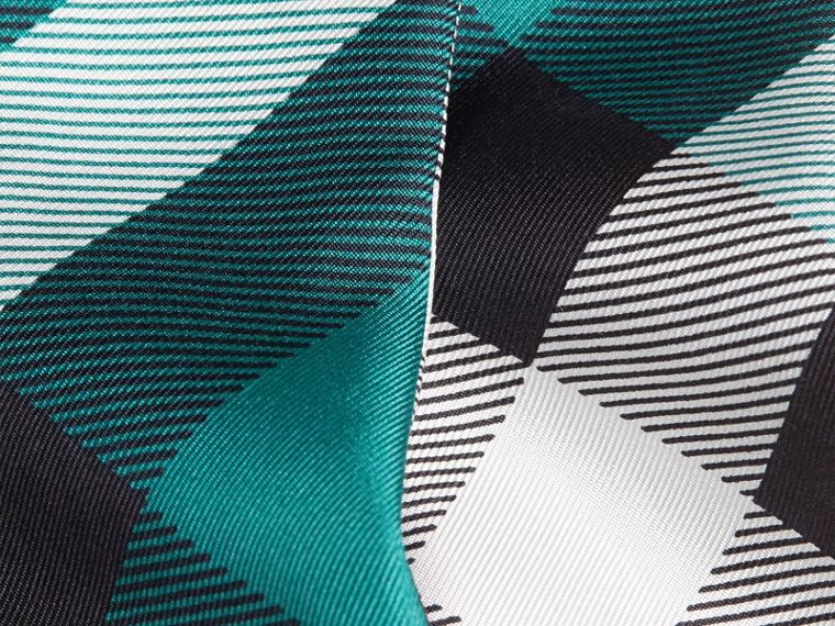 Dark aqua Check Print Slim Silk Scarf Dark Aqua - cell image 1