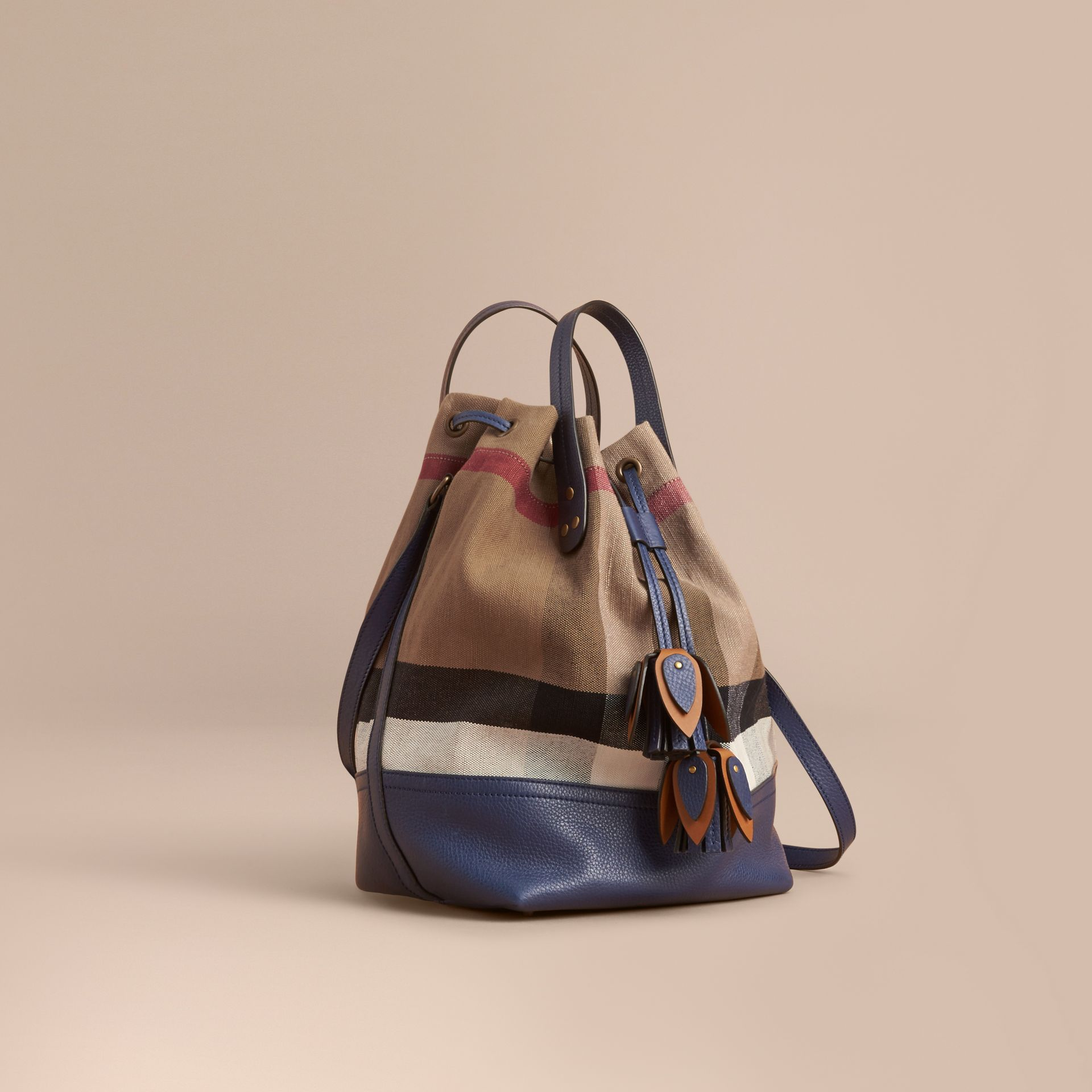 Medium Canvas Check and Leather Bucket Bag in Brilliant Navy - Women | Burberry - gallery image 1