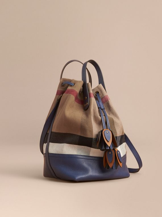 Medium Canvas Check and Leather Bucket Bag in Brilliant Navy