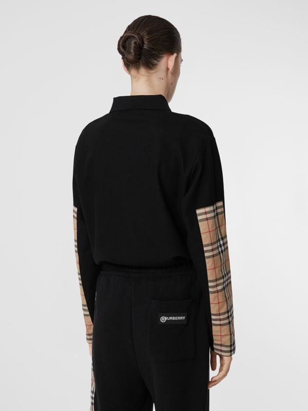 Long-sleeve Vintage Check Panel Oversized Polo Shirt in Black - Women | Burberry United Kingdom - cell image 2