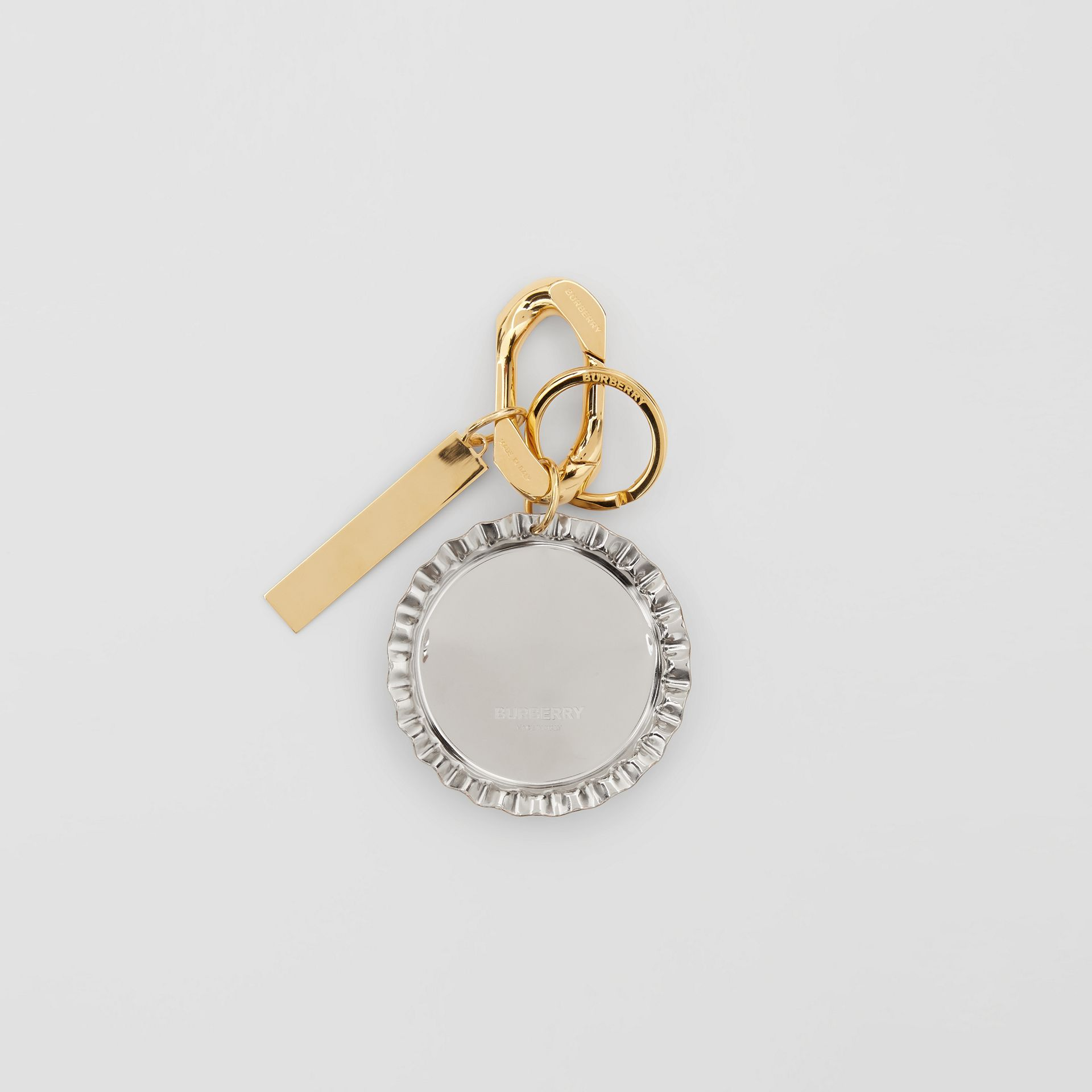 Gold and Palladium-plated Bottle Cap Charm in White - Women | Burberry - gallery image 2