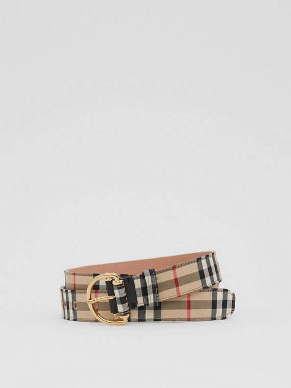 Vintage Check Cotton Blend D-ring Belt in Archive Beige