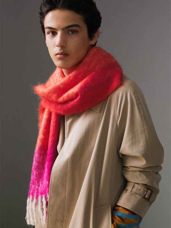 Two-tone Mohair Wool Scarf in Clementine | Burberry - cell image 3