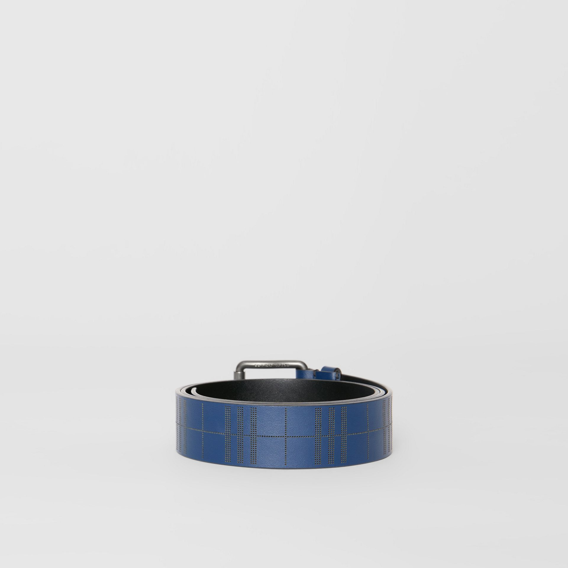 Perforated Check Leather Belt in Ink Blue - Men | Burberry - gallery image 4