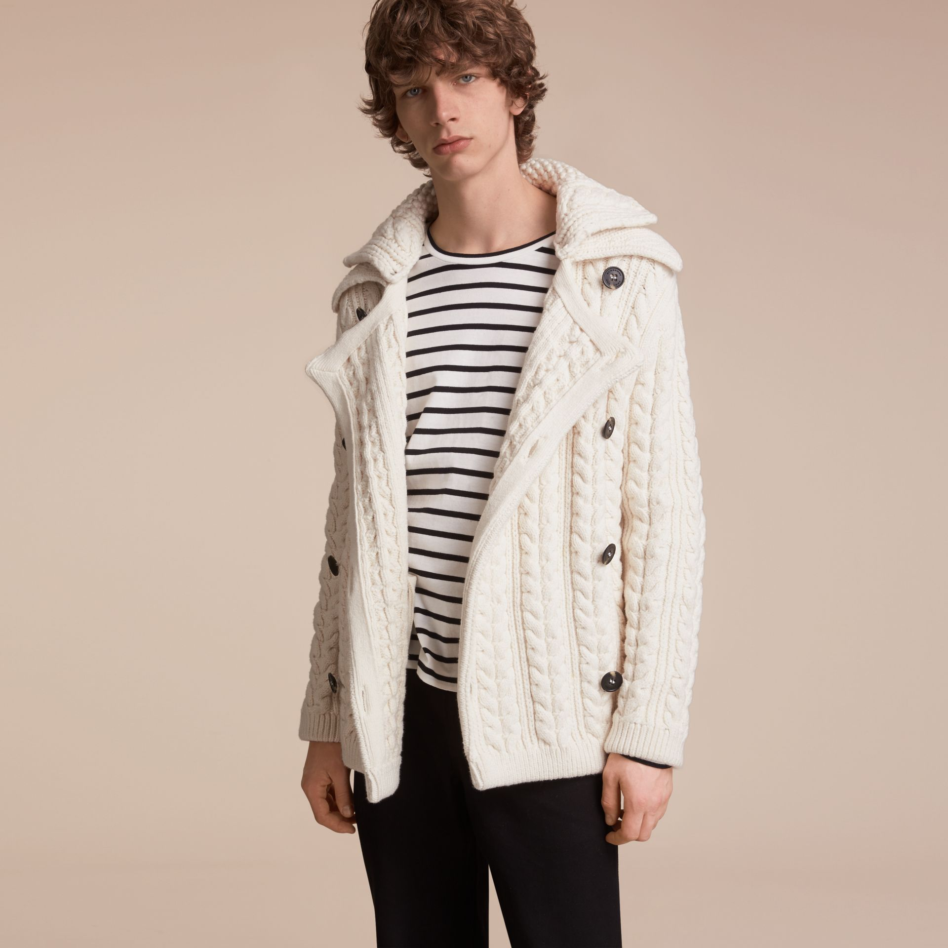 Aran Knit Technical Cotton Jacket in Natural White - Men | Burberry - gallery image 7