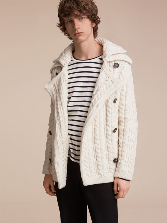 Aran Knit Technical Cotton Jacket - Men | Burberry Singapore