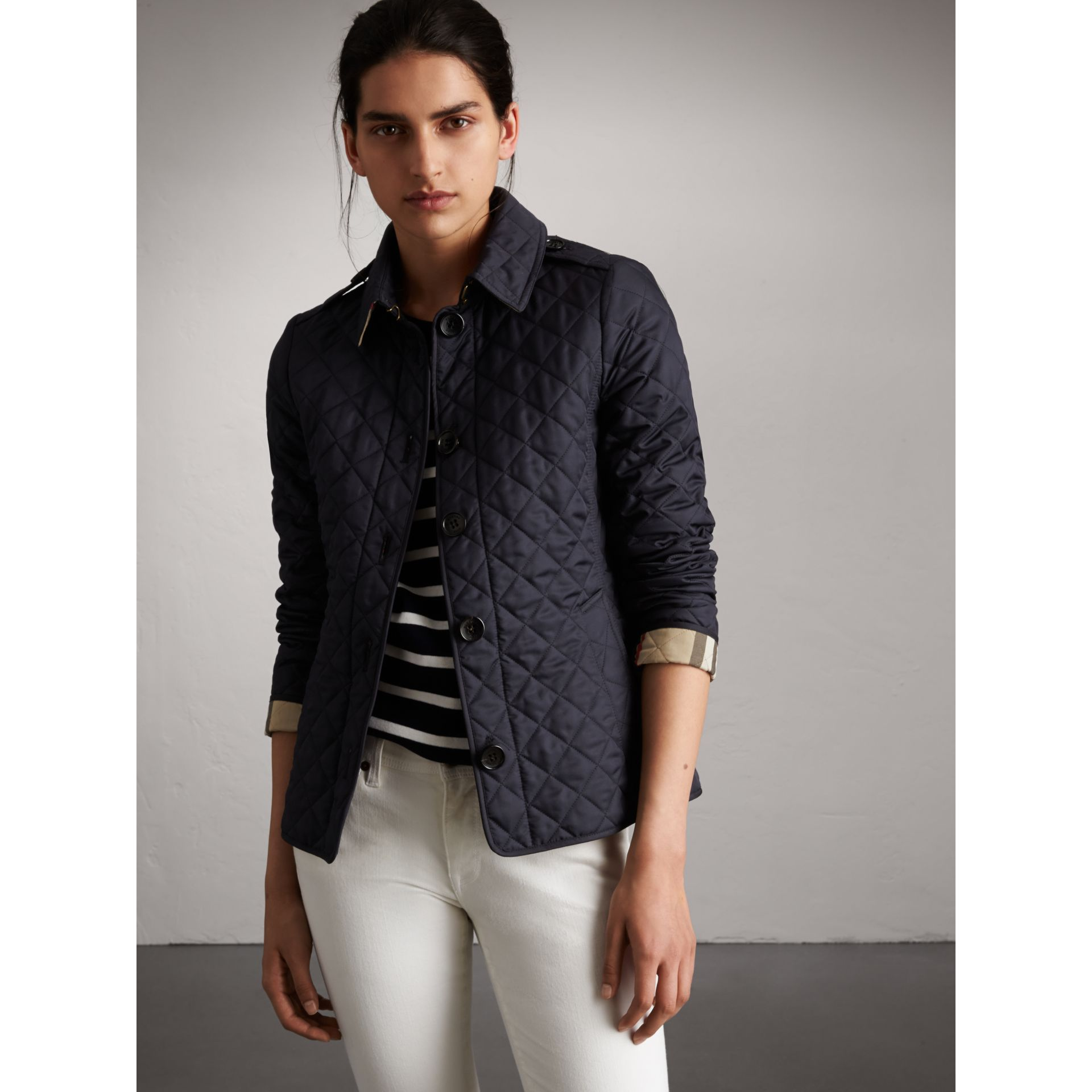 Diamond Quilted Jacket in Navy - Women | Burberry - gallery image 6