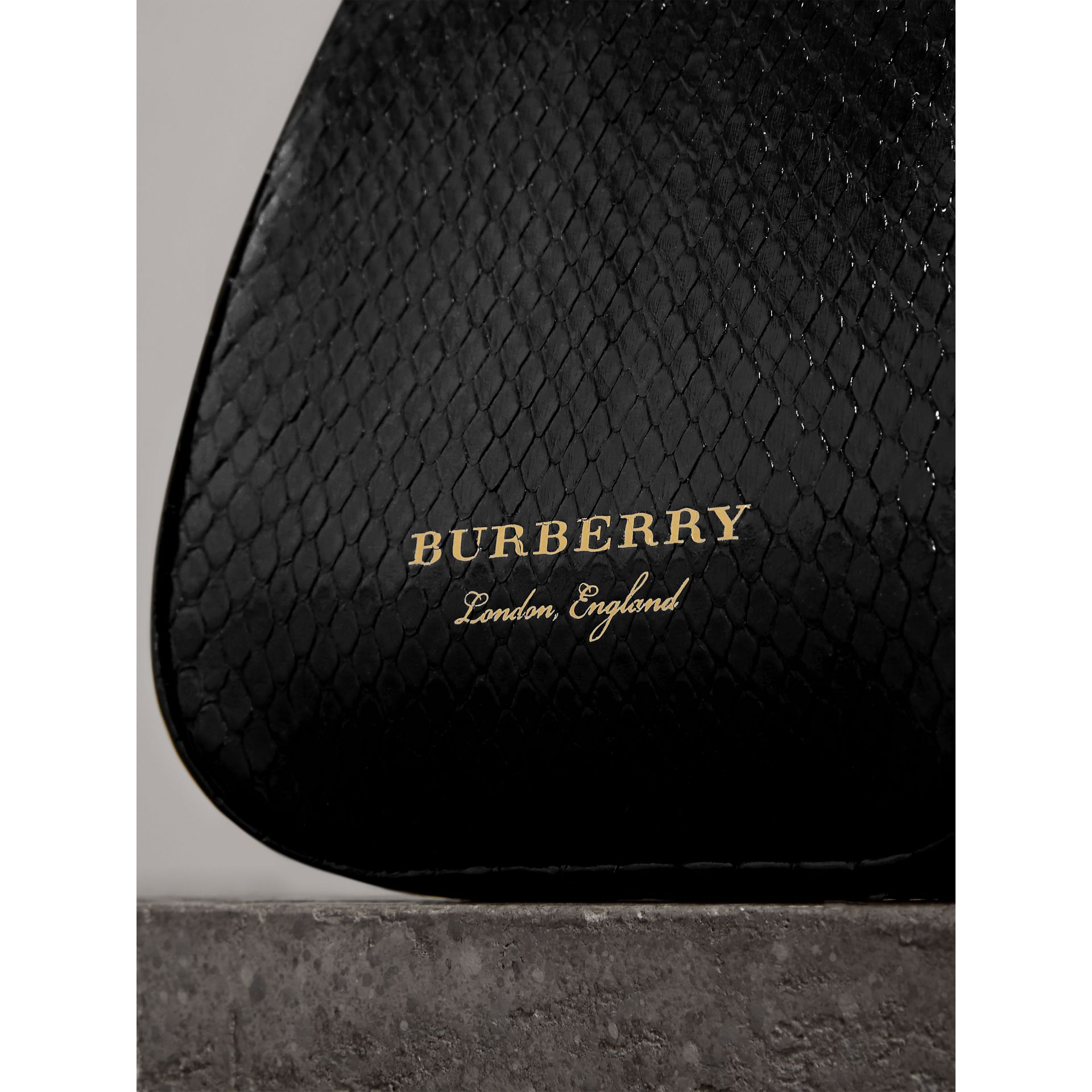 Mini Two-tone Python Metal Frame Clutch Bag in Black - Women | Burberry Singapore - gallery image 1