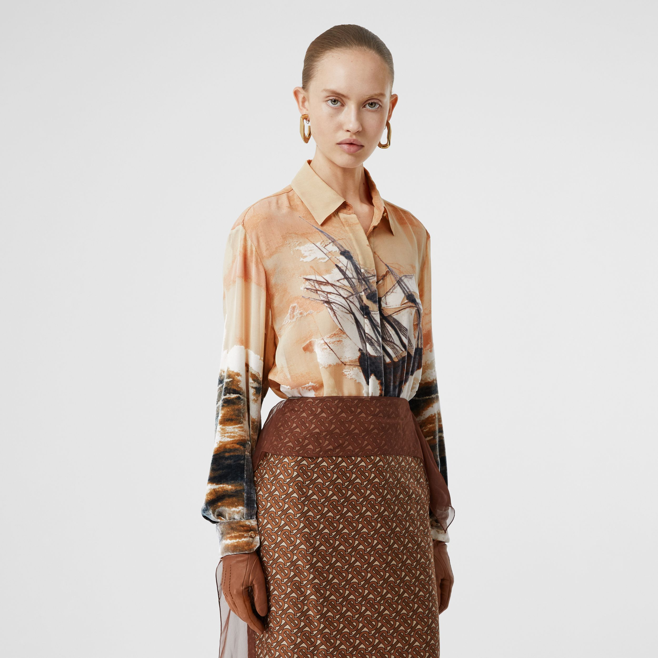 Ship Print Devoré Silk Blend Oversized Shirt in Bronze - Women | Burberry - 1