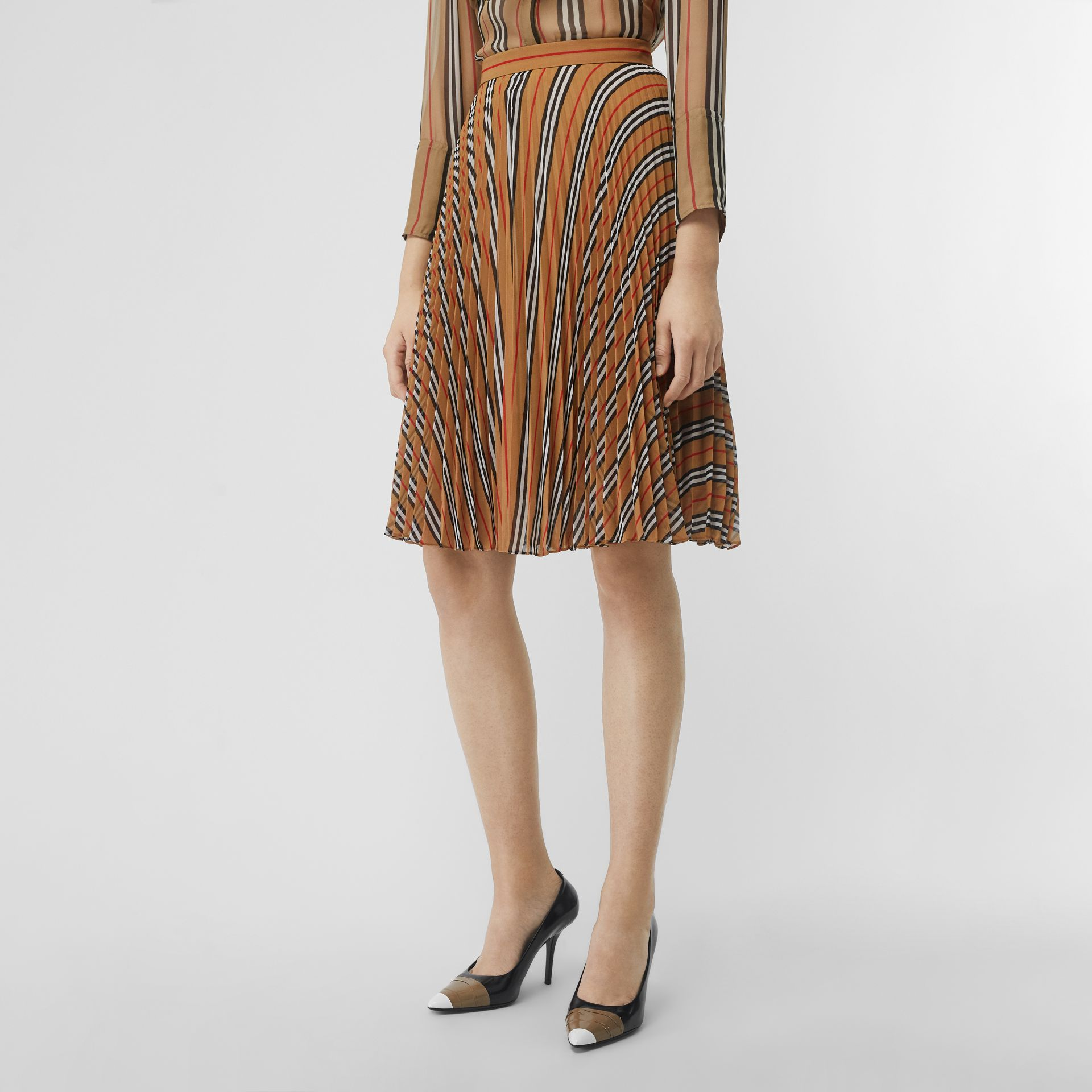 Icon Stripe Pleated A-line Skirt in Antique Yellow - Women | Burberry - gallery image 4