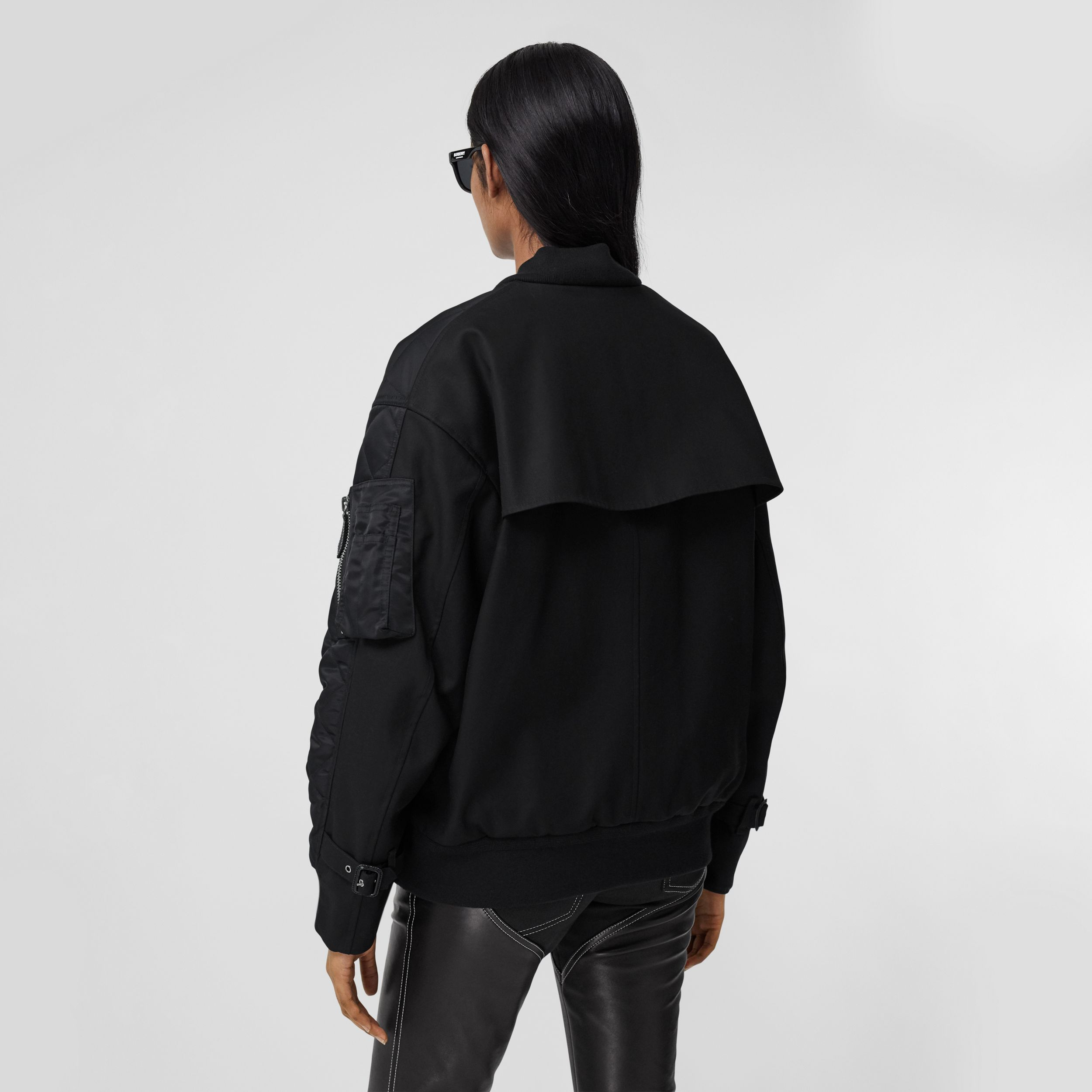 Diamond Quilted Nylon and Cotton Bomber Jacket in Black/black - Women | Burberry Singapore - 3