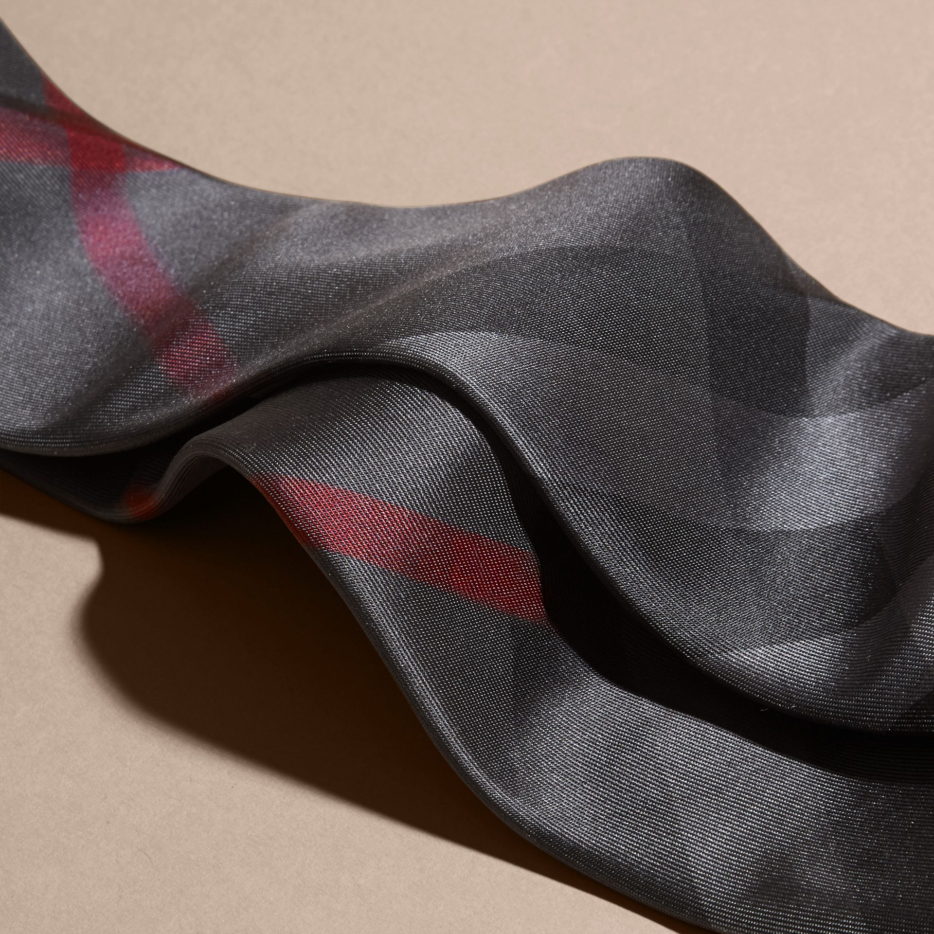 Modern Cut Check Silk Tie in Charcoal - gallery image 2