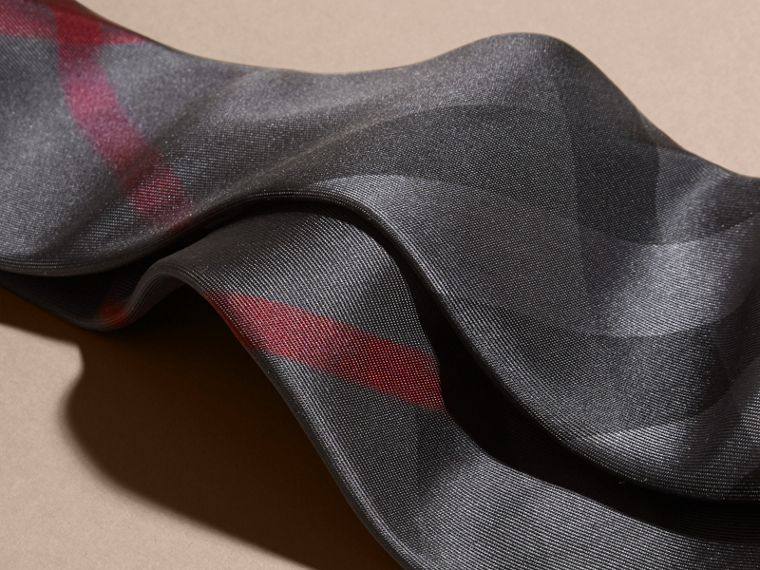 Modern Cut Check Silk Tie Charcoal - cell image 1