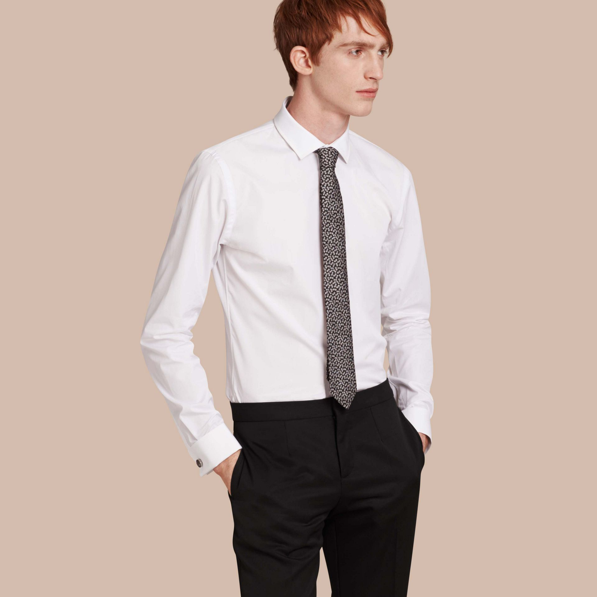 White Slim Fit Double Cuff Cotton Poplin Shirt - gallery image 1