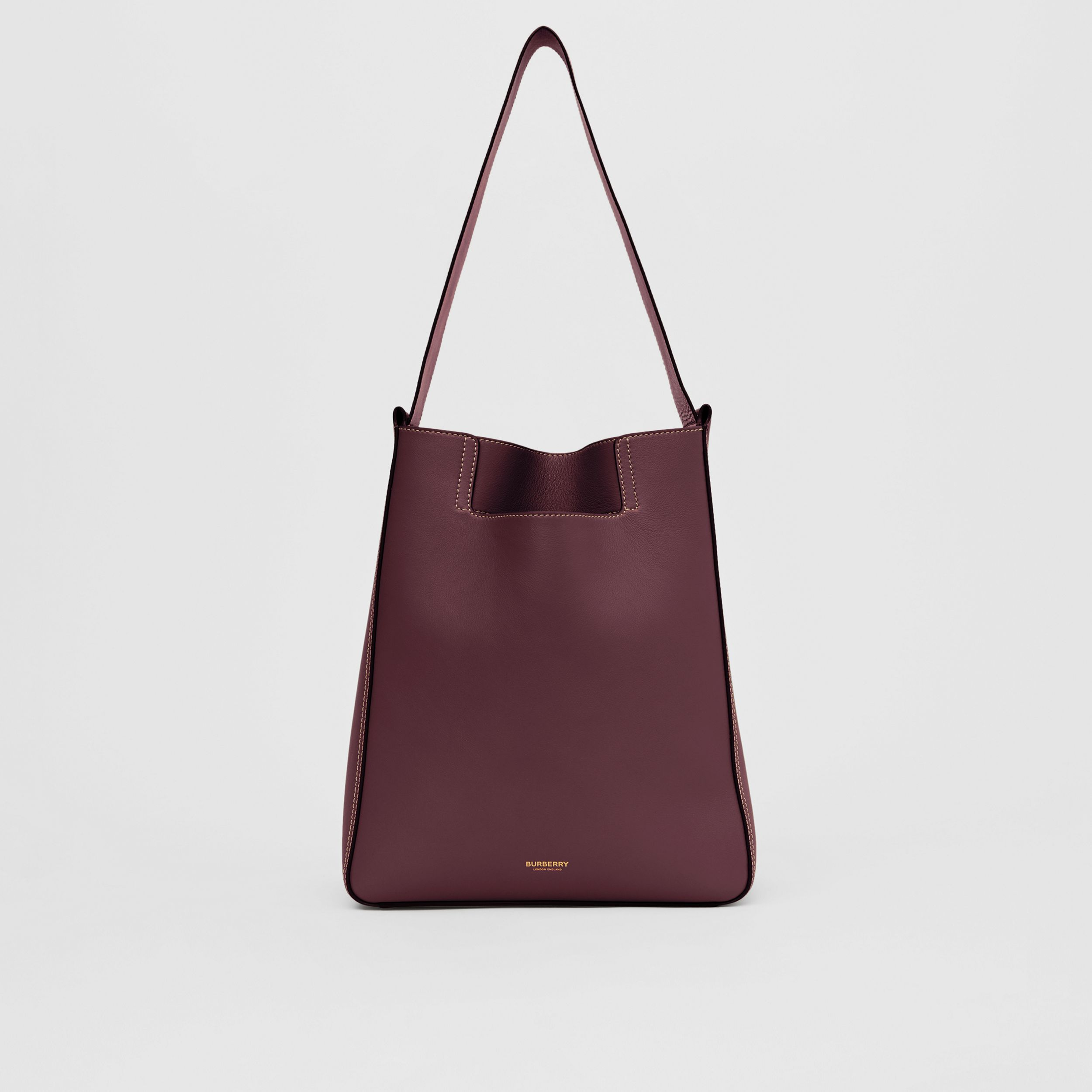 Large Leather Basket Bag in Deep Claret - Women | Burberry - 1
