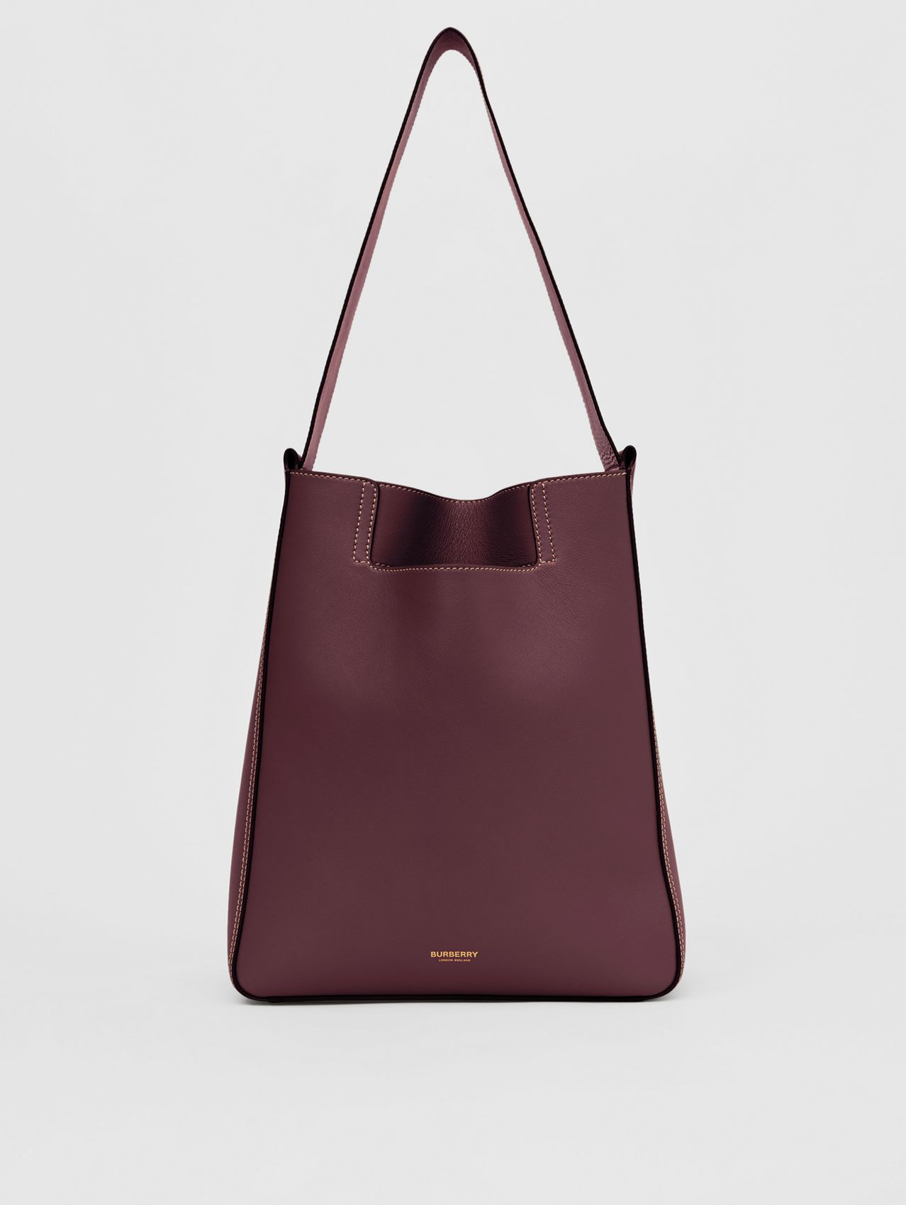 Large Leather Basket Bag in Deep Claret