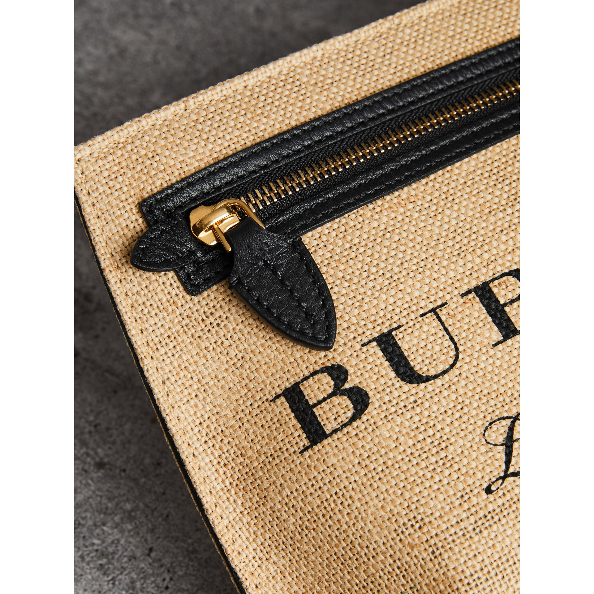 Logo Print Jute Wristlet Clutch in Black - Women | Burberry United States - gallery image 1