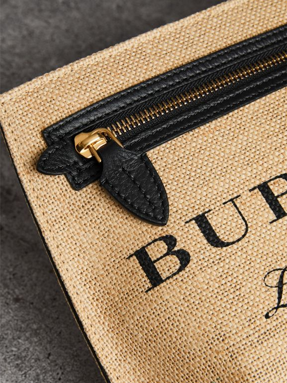 Logo Print Jute Wristlet Clutch in Black - Women | Burberry - cell image 1