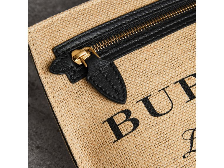Logo Print Jute Wristlet Clutch in Black - Women | Burberry United States - cell image 1