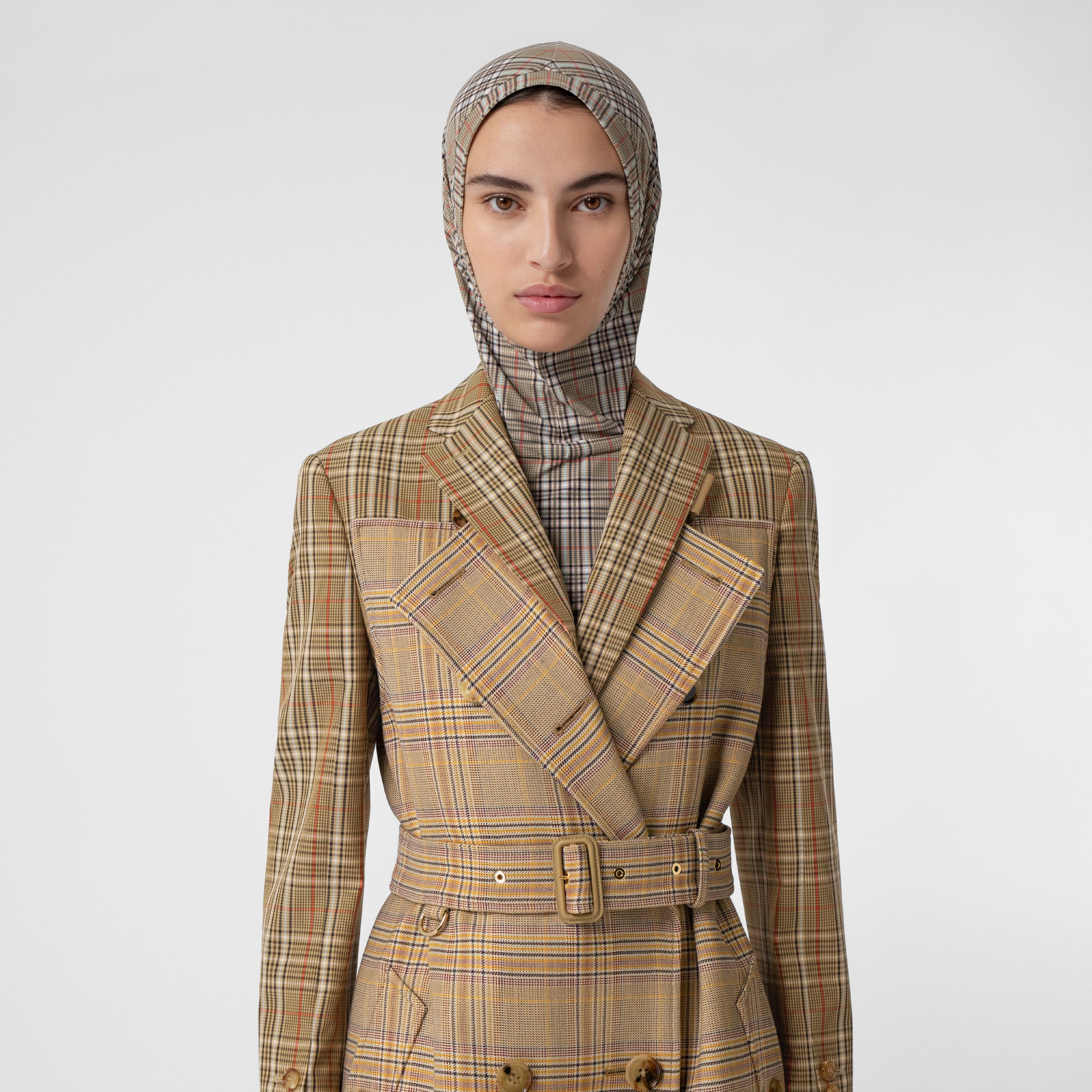 Contrast Check Wool Cotton Trench Coat in Dark Honey - Women | Burberry - 2