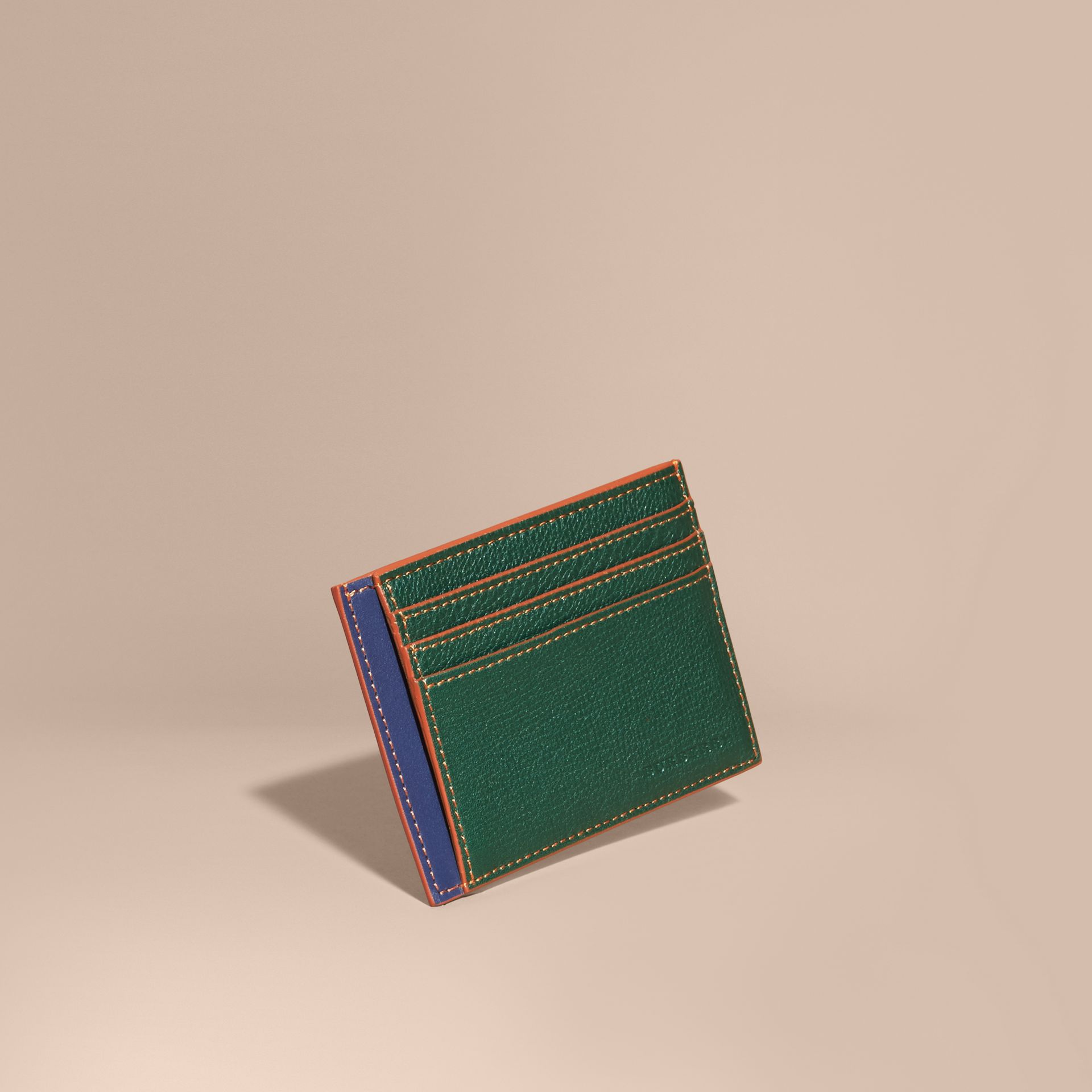 Colour Block Leather Card Case Sea Green - gallery image 1
