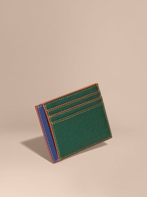 Colour Block Leather Card Case Sea Green