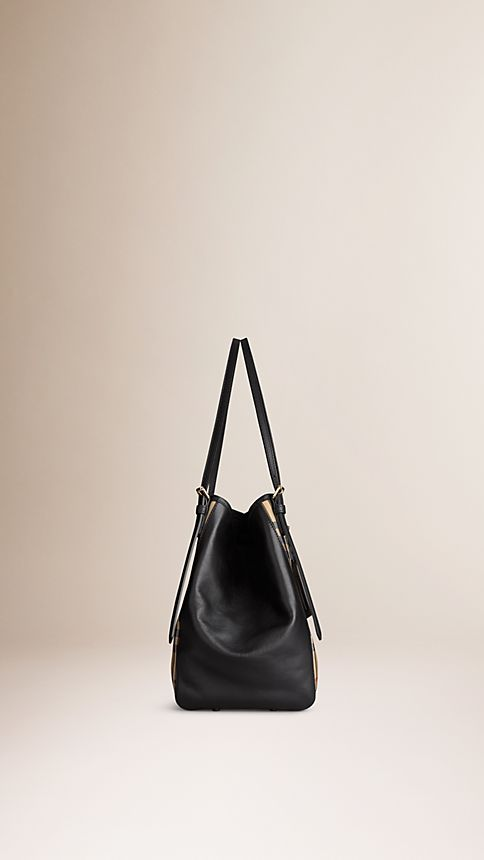 Honey/black The Small Canter in Horseferry Check and Leather - Image 5