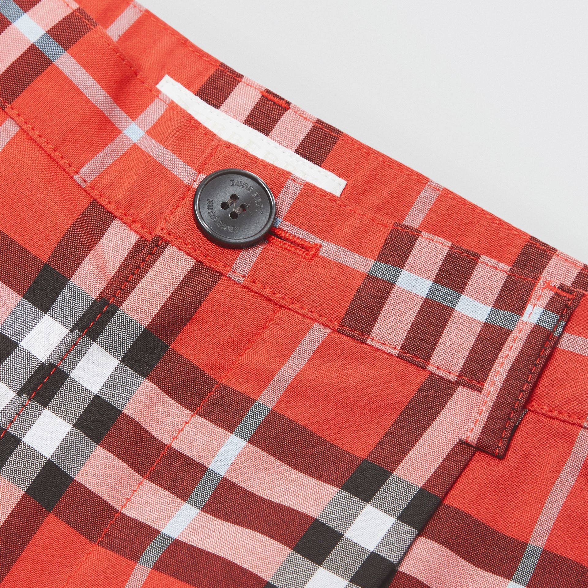 Check Cotton Tailored Shorts in Orange Red | Burberry United Kingdom - gallery image 1