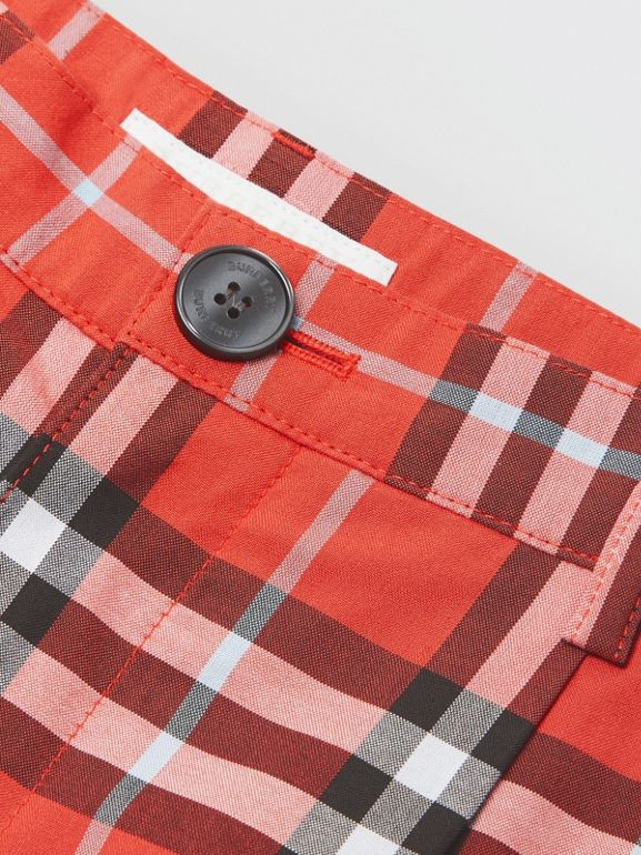 Check Cotton Tailored Shorts in Orange Red | Burberry - cell image 1
